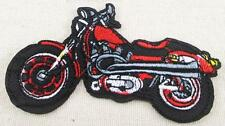 EMBROIDERED APPLIQUE - IRON ON - RED & BLACK MOTORBIKE.........A013