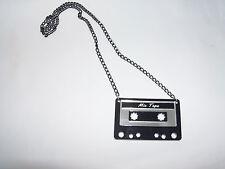 Retro Cassette Tape Necklace Comes With 24in Chain  Color:Silver/Black