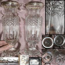 2 Vases balustre XIXème verre taillé à la roue & cerclage argent massif - 1895