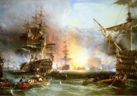 Dream-art Oil painting Seascape Warships After fierce fighting sail boats canvas