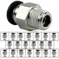 "20Pc 1/8"" Male NPT x 1/4 OD Tube Female Push In To Lock Connect Fitting Straight"