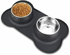2 Large Bowls Stainless Steel Dog Food Bowls With No Spill Non-Skid Silicone Mat