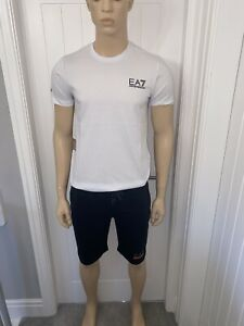 "Mens Armani Tshirt & Short Set Large 40""Chest 34""waist White/Navy Ea7 £79.99"