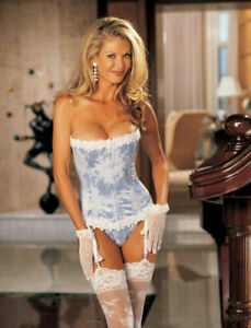Intimate Attitudes by S of H Blue & White Floral Tapestry Corset Plus Size 44