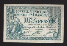 F.C. SADURNI D'ANOIA (BARCELONA), 1 PESSETA 1937, SERIE A . EBC-.
