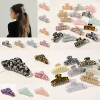 Chic Geometric Acetate Hair Claw Large Square Hair Clip Leopard Hairpin Barrette