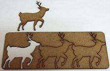3 Deer Shapes 70mm x 67mm 2.2mm MDF