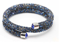 Made with Swarovski Elements Blue Crystal Dust Double Wrap Bracelet / Bangle