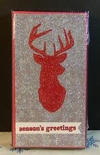 Holiday Time Glitter Deer Season'S Greeting Christmas Cards New Sealed
