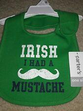 NWT Carter's One Size Bib St. Patrick's Day Irish I Had A Mustache Baby Boy Fun!