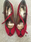 Red Peep Toe Shoes Pumps Heels Shoes Size 4