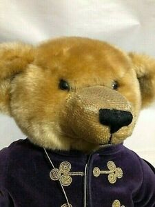 """Harrods Limited 2000 Christmas Teddy Bear Plush Collectible 13"""" Purple with Tag"""