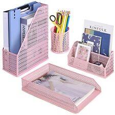 Poprun Desk Organizer Set Cute Desk Accessories 4 Piece Letter Sorter Pen Cup