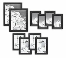 Wall Frames Collection, Set of 10, Solid Wood Photo Frames, Black