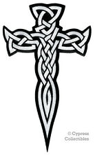 LARGE CELTIC CROSS DAGGER iron-on PATCH embroidered IRISH RELIGIOUS WHITE EMBLEM