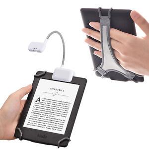 "TFY Clip-on LED Reading Light for Tablets Plus Hand Strap Holder for 6"" Kindle"
