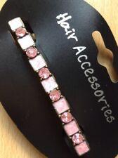 A Pretty Pink Metal Enamel And Diamanté Slim Barrette Hair Clip