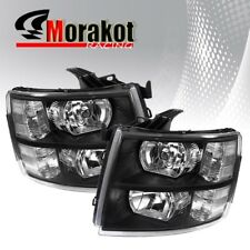 For 07-13 Chevy Silverado Driver/Passenger Black Headlights Clear Reflector Lamp