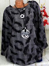 MB Germany Designer Tunika Bluse Kleid Lagenlook Longshirt Grau Schwarz 4) 50 52