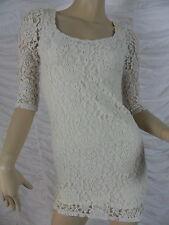 SPORTSGIRL white lace 3/4 sleeve stretch bodycon mini dress size XXS EUC