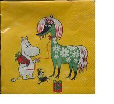 Moomin paper napkins, 25x25cm, 20 counts, Muumi, Moomintroll Finland yellow