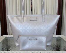 Kate Spade Metro Spade Harmony Silver Tote Shoulder Bag & Cosmetic Case NWT