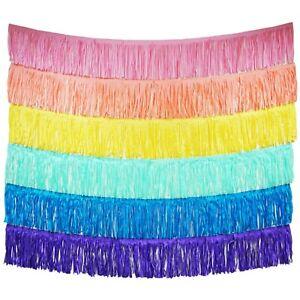 Unicorn Pastel Rainbow Fringe Tassel Banners 8 Feet x 14 in Party Decoration