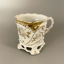Antique Porcelain Footed Coffee Cup White & Raised Gold Leaf Design