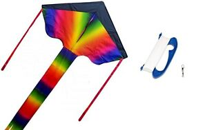 Large Rainbow Kite for Kids and Adults Easy to Fly with Blue Handle Hook & Line