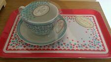 NEW Humble Vintage Fine Porcelain Cup & Saucer & Melamine Sandwich Serving Tray