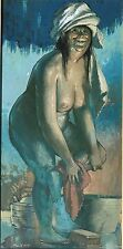 Frank Holt Painting Female Bathing Nude American Listed 1950's Arizona Indiana