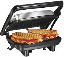 Panini Press Grill Hot Sandwiches Non Stick Grid Lockable Hinge Press Cooking