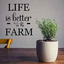"Life is better on the farm vinyl lettering wall quotes home decor, 13"" X 16"""