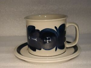 Vintage Arabia Anemone Beer Mug Cup Blue D Handle with Saucer