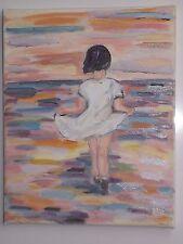 Tableau peinture Huile sur toile 30cm/24cm Marine Enfants Fauvisme Picard art