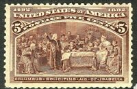 [DZ]   US #234 Mint-VLH 1893  5c 'Columbian Exposition' Stamp...Ships Free!