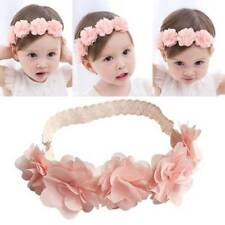 Baby Girls Handmade Pink Lace Cute Flowers Princess Ribbon Headband Q