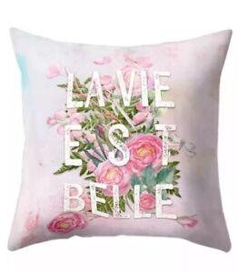 La Vie Est Belle Pink Polyester Cushion Cover