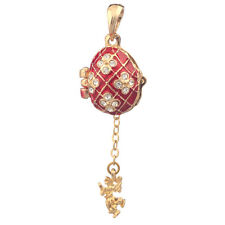 Faberge Egg Pendant / Charm with Angel 2 cm red #0736-05