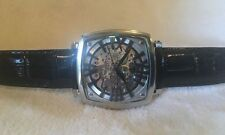 TIMEPIECES BY RANDY JACKSON STAINLESS STEEL AUTOMATIC SKELETON WATCH new