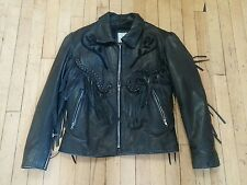 Vintage Leather Size SM Black Rose Fringe Quality Ladies Jacket Made In The USA