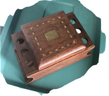 Vintage Wooden Smoking Pipe Stand Display Holder for 6 Pipes w/ Humidor