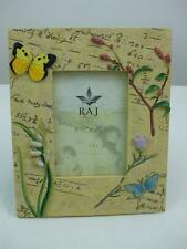 Picture Frame Butterfly Multi Flower Design Resin Yellow Velvet Easel Back 8""