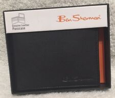 BEN SHERMAN NIB BLACK GENUINE LEATHER PASSCASE  WALLET KENSINGTON COLLECTION