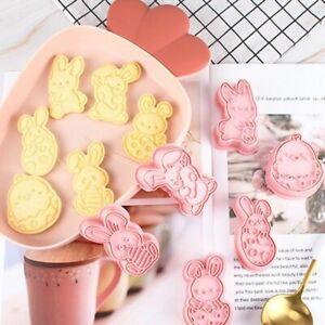 6pcs Cookie Cutters Easter Rabbit Egg Plastic Cartoon Biscuit Press Baking Tools