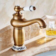 Retro Antique Brass Single Lever Bathroom Basin Sink Faucet Mixer Tap fnf503