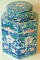 Lotus Flower Hexagonal Urn Ginger Jar w/ Lid