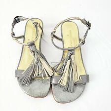 Bernardo womens silver gold leather fringe flat ankle strap sandals 6M EUC