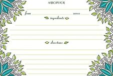 Recipe Card Set of 40 4 x 6 new cards, New Leaves design, Meadowsweet Kitchens