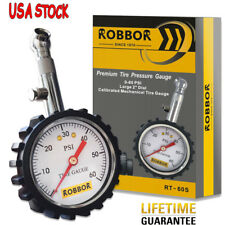 ROBBOR Premium Tire Pressure Gauge with deflator. Heavy Duty 0-60psi, USA